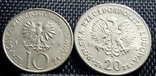 1974 Poland 20 Zt (20 Zlotych)& 1976 10 Zt coin,Rare (plus FREE 1 coin) #D2923
