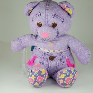 Vintage 1994 Tyco Autograph Graffiti Doodle Bear Preowned Stuffed Animal Purple