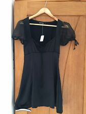 Urban Outfitters MOTEL ROCKS Black Silky Satin Dress Mesh Puff Sleeve Size S NEW