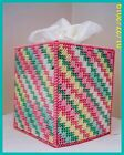 GREEN PINK YELLOW WHITE NURSERY HANDMADE PLASTIC CANVAS TISSUE BOX COVER TOPPER