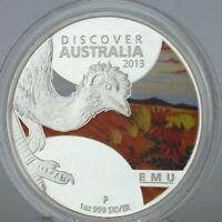 2013 Discover Australia 1 oz ounce Silver Proof Coin EMU CERTIFICATE 0191