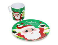 MILK and COOKIES FOR SANTA Plate and Mug Set Melamine Fun Tradition FREE SHIP
