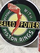 VINTAGE PORCELAIN SEALED POWER PISTON RINGS GAS PUMP PLATE SIGN