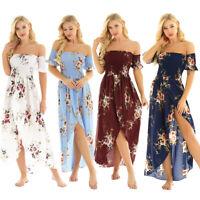 Womens Maxi Long Dress Beach Sundress Off The Shoulder Boho Holiday Floral Dress