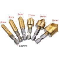 6Pcs 1/4 6mm-19mm Hex Shank HSS 5 Flute Countersink Bit 90° Degre Set C1I5