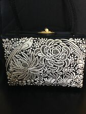 1950's Box Purse Black With Silver Embroidery Evening Hand Bag Make Up Mirror