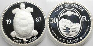 ECUADOR 1987 ISLAS GALAPAGOS TURTLE CINCO 50 REALES 5 ONZAS SILVER COIN PROOF
