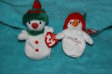TY Christmas Jingle Beanies Babies Lot of 2  NEW NWT CHILLIN & SNOWGIRL Snowman