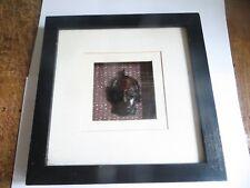 Boitier en bois noir fond blanc et intérieur avec tête noire Hauteur : 21,7 cm L