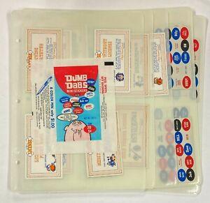 1969 Fleer Dumb Dabs Set w/ (10) Licenses + (11) Stickers + Wrapper