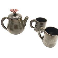 Rackliffe Tea Set Studio Pottery Blue Hill Teapot and 2 Mugs Flower Charcoal