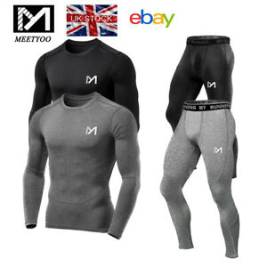 Mens Compression Shirt Base Layer Sports Tights Top Long Sleeve Gym Activewear