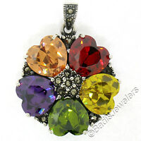 Sterling Silver Multi Heart Gemstone & Marcasite Flower Cluster Pendant w/ Chain