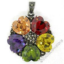 Sterling Silver Multi Heart Gemstone & Marcasite Flower Cluster Pendant w/ Chain