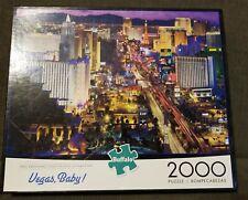 "Buffalo Games Puzzle 2000 Piece ""Vegas, Baby!"" 38.5""x 26.5"" NEW! w/BONUS POSTER"