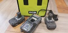 2 GENUINE RYOBI ONE+ P102 18 VOLT LITHIUM ION BATTERIES + P118 CHARGER AND BAG