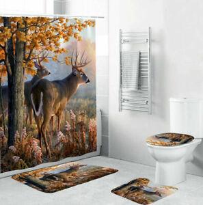 Deer Bathroom Rugs Set Shower Curtain Non-Slip Toilet Lid Cover Bath Mat Decor