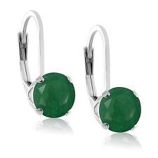 Round 5mm Genuine Green Emerald Sterling Silver Leverback Stud Earrings