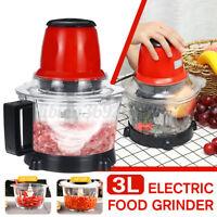 3L Electric Blender Food Chopper Meat Grinder Household Processor Machine Metal