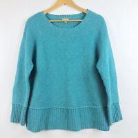 J Jill Wool Blend Sweater Womens Medium Blue Knit Pullover Crewneck