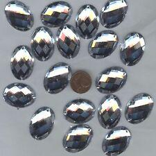 PC35 *** 15 pierres à coudre à facettes acrylique ovales 25x18mm -  TRANSPARENT