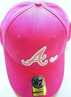 ATLANTA BRAVES GIRLS YOUTH ADJUSTABLE PINK CAP HAT W/ HEART & GLITTER IN LOGO A