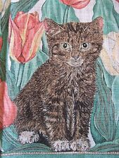 NEW! Adorable Vintage Linen tea Towel Kittens & Tulips NWOT
