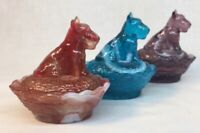 Boyd Art Glass Set Of Three Slag Scottie Dog Covered Salts