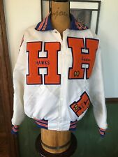 Vintage Hoffman Estates High School Nylon Jacket Women's Patches Pins White USA