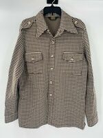 Vintage Tobias men's XL long sleeve houndstooth button up military style shirt