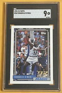SHAQUILLE O'NEAL 1992-93 Topps RC SGC 9 MINT card#362
