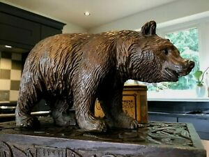 BLACK FOREST LARGE BEAR ANTIQUE SWISS HAND CARVED WOODEN IN VGC 21CMS LONG