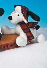 Mary Meyer Puppy Dog White Bowser Boys Red Plaid Stuffed Animal NEW
