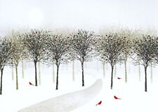 Red Birds And Winter Snow Scene Christmas Tree Holiday Greeting Cards