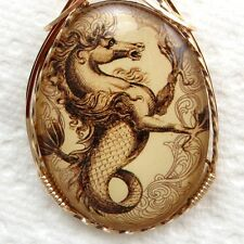 Pegasus Seahorse Glass Cameo Cabochon Pendant 14K Rolled Gold Jewelry Brown
