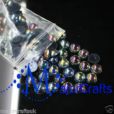 2000pcs Black AB 1.5mm Flat Back Half Round Resin Pearls Nail Art Gems C13