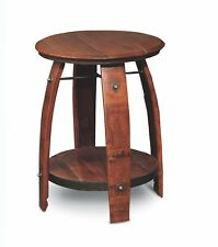 Recycled Wine Barrel Side Table W/ Shelf Free Shipping