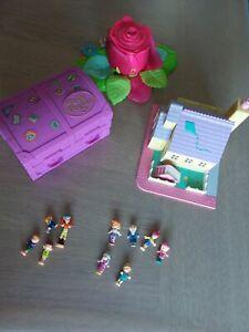 Polly Pocket Bluebird Lot figurines, ecole, rose, valise
