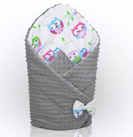 BABY SWADDLE WRAP NEWBORN DIMPLE INFANT BEDDING Owls White