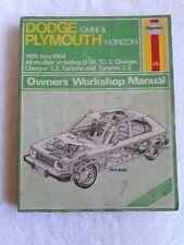 Haynes Dodge Omni Plymouth Horizon Owners Workshop Manual 1978 - 1984