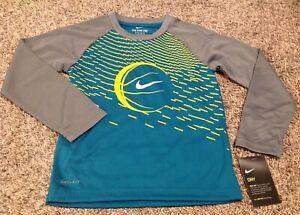 NIKE Boy Dri Fit Shirt 6 Gray Teal Yellow Long Sleeves New