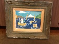 Narrative Gouache Outsider Art of Fishing Bear on Boat in Vail Lake Painting