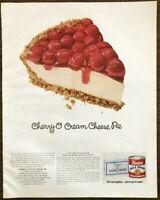 1964 Borden's Eagle Sweetened Condensed Milk Print Ad Cherry-O Cream Cheese Pie