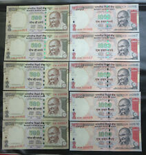 10 India 500, 1000, Five Hundred & one Thousand Rupees Banknotes 2016 UNC