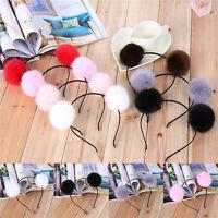 Womens Girl Warm Pom Ball Furry Ears Headband Hair band Head Accessory №Y
