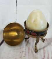 Unique Vintage Onyx Marble Egg Hand Painted Metal Case and Stand FAST SHIP A7