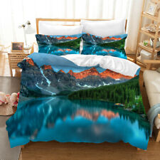 3D Mountains Lake Quilt Cover Set Bedding Duvet Cover Double/Queen/King 3pcs 56