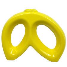 """Japanese 5-1/4""""H Ikebana 2-Loops Yellow Ceramic Vase /Made Japan"""