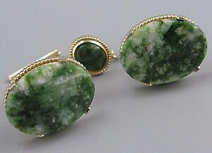 Mens Vintage NATURAL GREEN JADE CUFFLINKS w/ TIE TACK Costume Jewelry S14