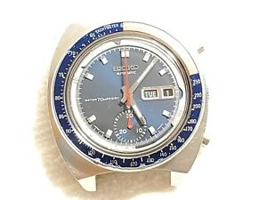 Vintage Seiko Automatic Chronograph Day Date Watch 70 Meters Pepsi Bezel Men's